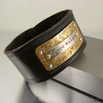 "Leather Cuff Bracelet ""Spero melior"" I Hope for Better Things"