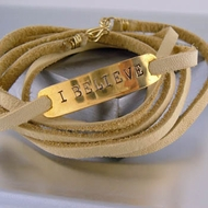 "Leather Wrap Bracelet    ""I Believe"""