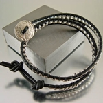 "Leather Wrap Bracelet ""Roper"" Silver"