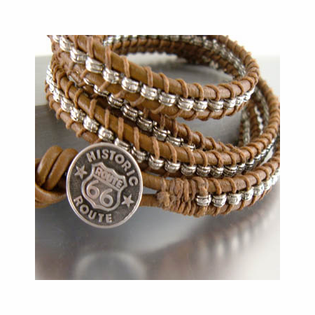 Leather Wrap Bracelet Route 66