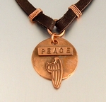 Message Jewelry Leather Peace Necklace