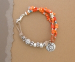 """Silver and Coral Bracelet """"Coral Seas"""""""