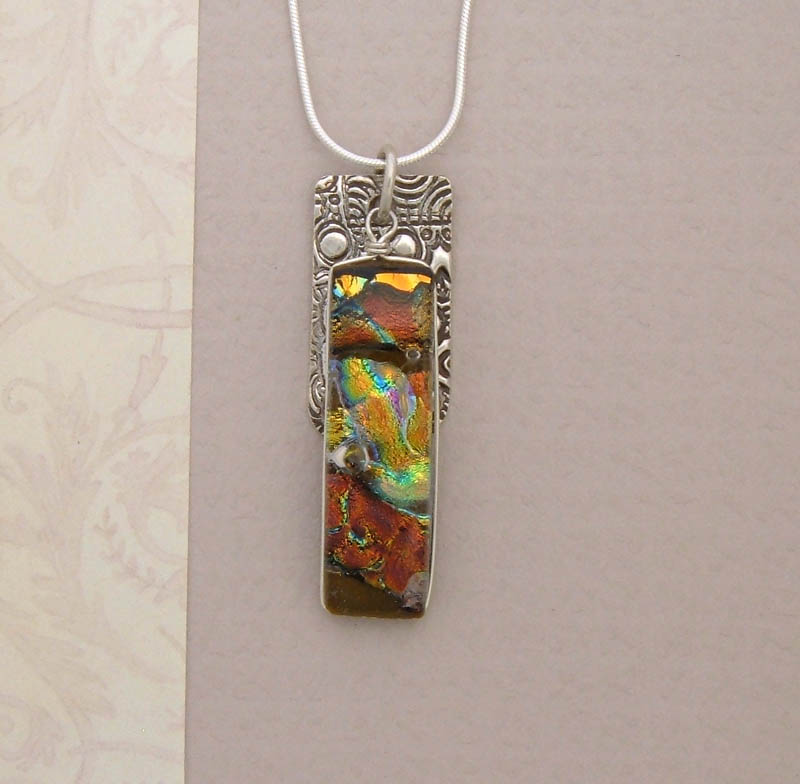 Silver and Dichroic Art Glass Pendant PS79