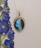 Silver and Dichroic Art Glass Pendant PS100