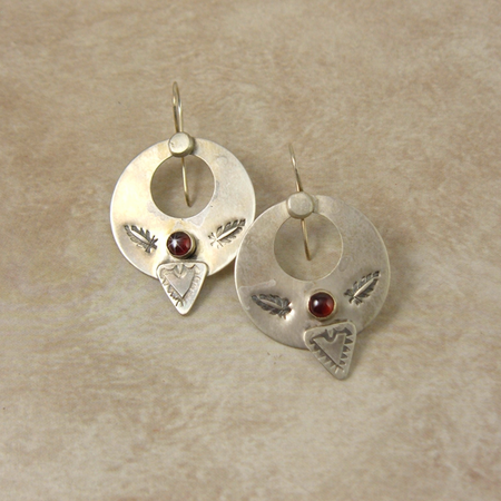 Sterling Silver Hoop Earrings - Garnet