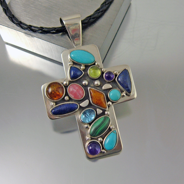 Sterling Silver Jewel Cross
