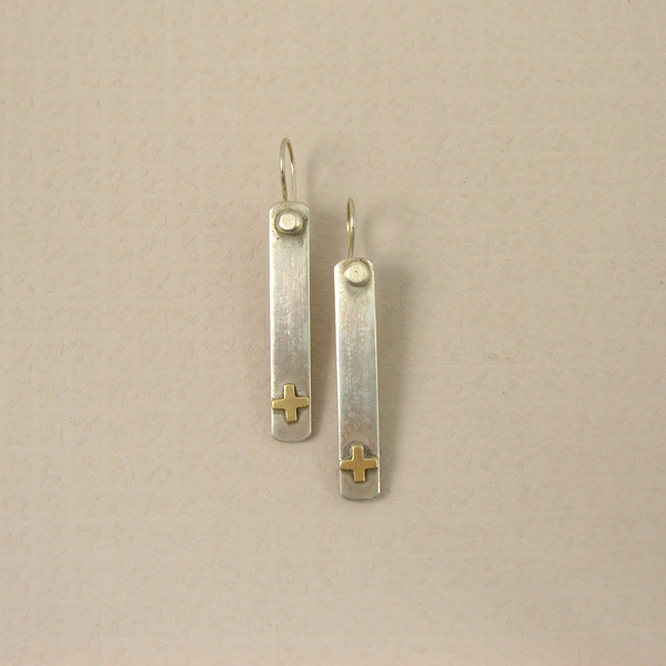 Sterling Silver Santa Fe Cross Earrings