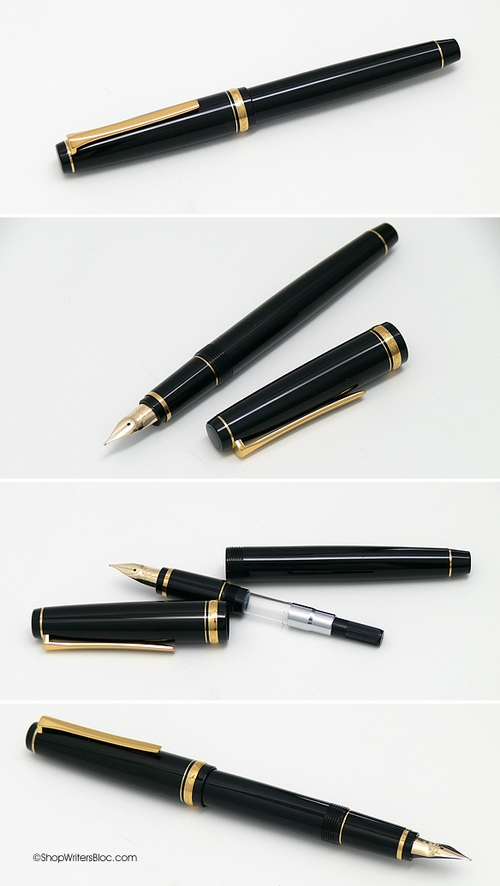 Pilot Falcon Fountain Pen - Black with Gold Trim, Soft Fine Nib