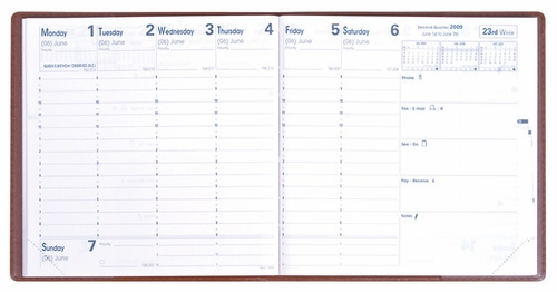 Quo Vadis Executive Desk Weekly Planner 2016<br>Club Cover, Rose Grenadine