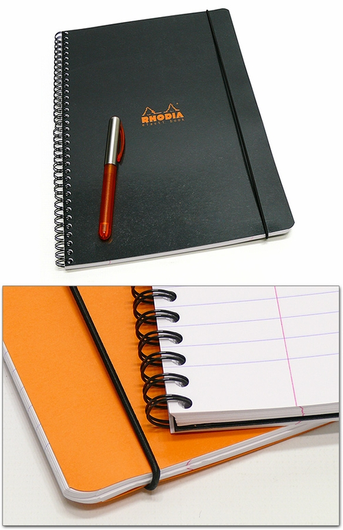Rhodia Elasti Book - A4 Large, Black, Lined with Margin