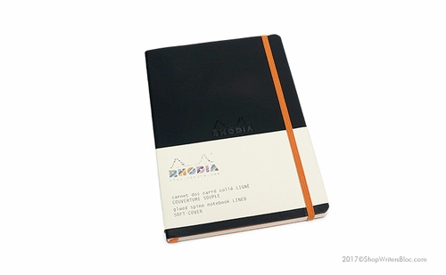 Rhodiarama Soft Cover Notebook - Medium, Black, Lined - Click to enlarge