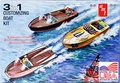 AMT 1959 3 in 1 Customizing Boat Kit, 3 in 1, Inboard Runabout, Customized Speedboat or Drag Boat, with Trailer