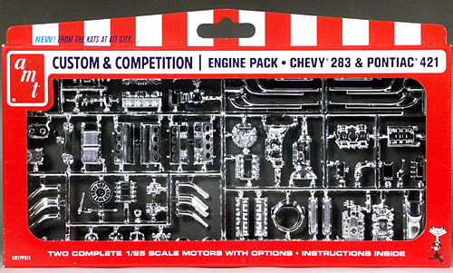 AMT Chrome Plated Chevy 283 and Pontiac 421 Engines - Custom
