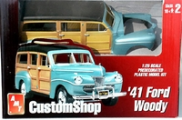 AMT Pre-Painted Metallic Turquoise 1941 Ford Woody Station Wagon with Custom Wheels