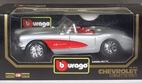 BBurago 1957 Chevrolet Corvette Convertible, Silver with Red Cove and Red Interior