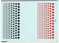 Easy Decal Red, White & Black Dots of Various Sizes - 4 x 5.75 Inches Long