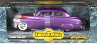 """ERTL/American Muscle 1949 Mercury """"Lead Sled"""", Metallic Purple with Metallic Silver and Orange Flames and White Interior"""