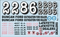 Gofer Numbers, Lafayette and Duncan Ford and Southeastern Ford Dealers Vintage NASCAR Decal Sheet