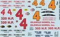Gofer Rex White '59 and '60 Chevy Hardtop Piedmont and Friendly Chevrolet and Idlewild Homes Decal Sheet