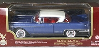 Yat Ming Road Legends 1958 Cadillac Eldorado Seville Hardtop, Metallic Dark Blue with White Top and Red Interior