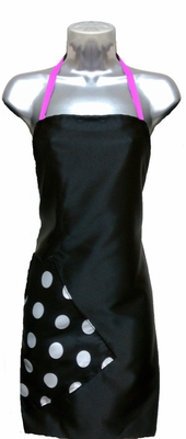 Salon Apron Black-Big Dot-Pink