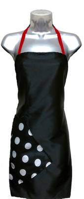 Salon Apron Black-Big Dot-Red