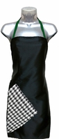 Hairstylist Apron Black-Houndstooth-Green