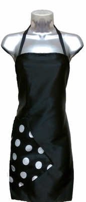 Salon Apron Black-Big Dot