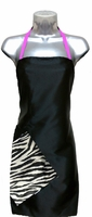 Hair Salon Apron Black-Zebra-Pink