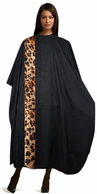 Salon Cape Black Cheetah Leopard