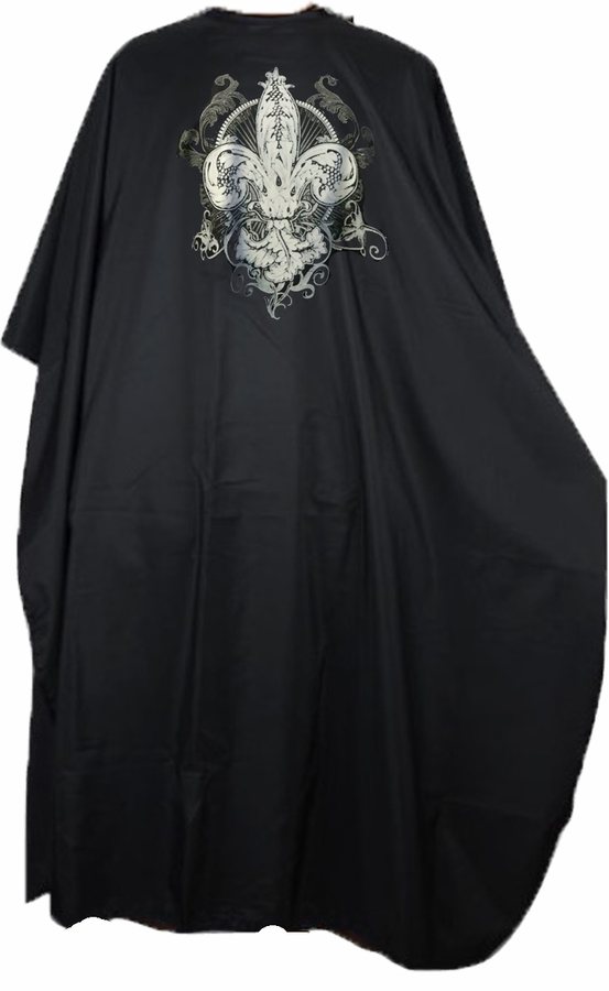 Salon Cutting Cape with Fleur De Lys Detail