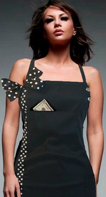 classic black white dot salon or grooming apron