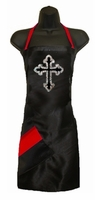 Stylist Apron with Rhinestone Cross and Red Detail