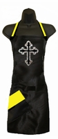 Stylist Apron with Rhinestone Cross  and yellow Detail
