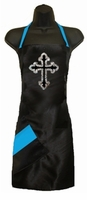 Stylist Apron with Rhinestone Cross  and Blue Topaz Detail