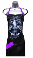 Stylist Apron with Fleur De Lis  Purple