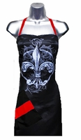 Stylist Apron with Fleur De Lis  Purple Red