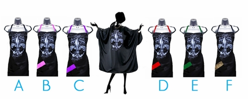 Stylist apron and salon cape set with Fleur De Lys