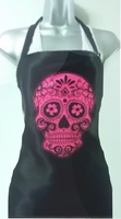Hair Salon Apron Floral Skull