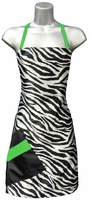 Hair Salon Apron Zebra Print Green Apple