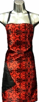 Stylist Apron Red-Black-Scroll