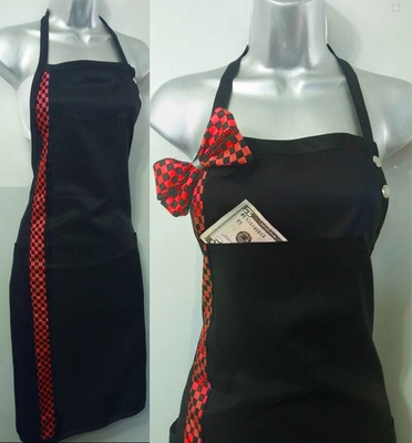 Salon Apron Red Checkerboard for Hair And Nails- Add Name or Monogram- Any Color