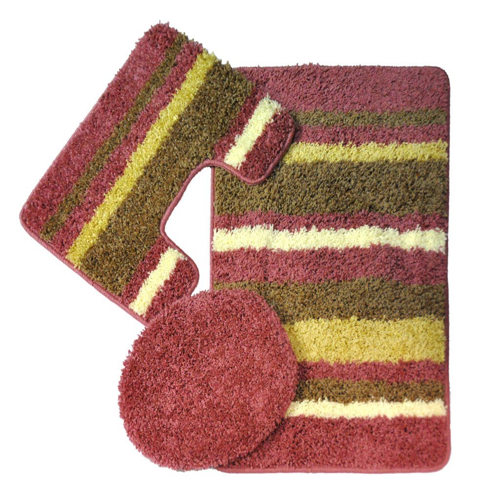 Avalon 3 Piece Bath Rug Set Pink Moshells