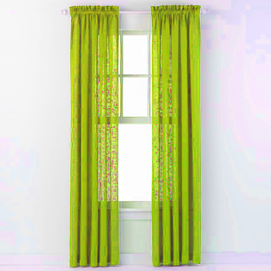 emerald crepe curtain panel lime green moshells