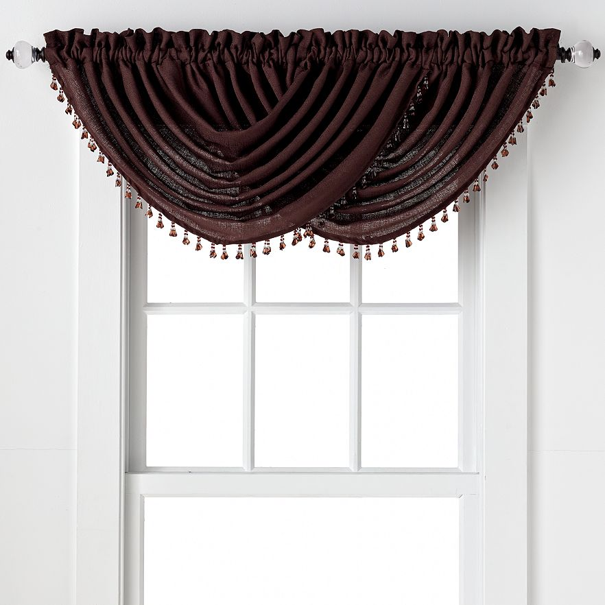 Emerald Crepe Waterfall Valance Brown