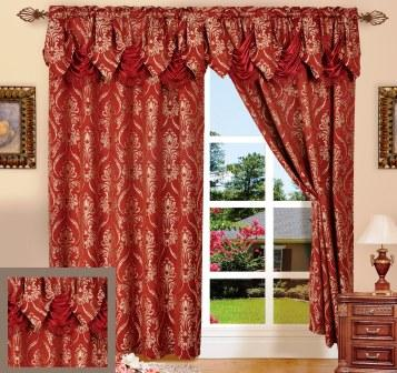 Penelope Curtain With Attached Valance Burgundy Moshells