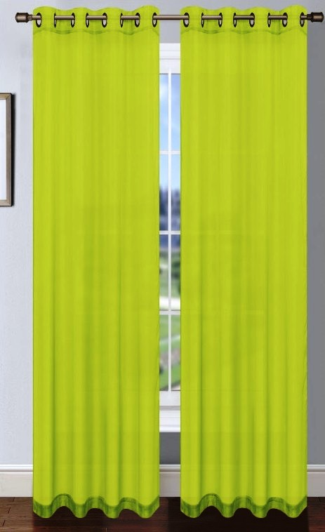Platinum Sheer Voile Curtain With Grommets Lime Green Moshells