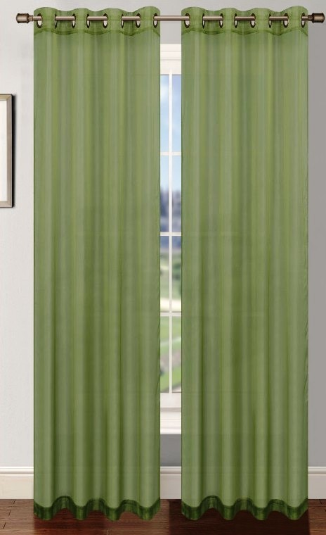 Platinum Sheer Voile Curtain With Grommets Sage Green Moshells