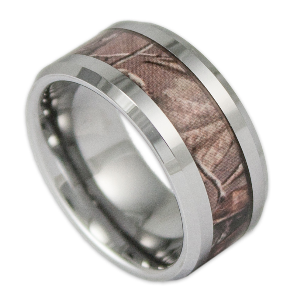 10MM Wide Mens Tree Camo Tungsten Ring Camouflage Wedding Band by