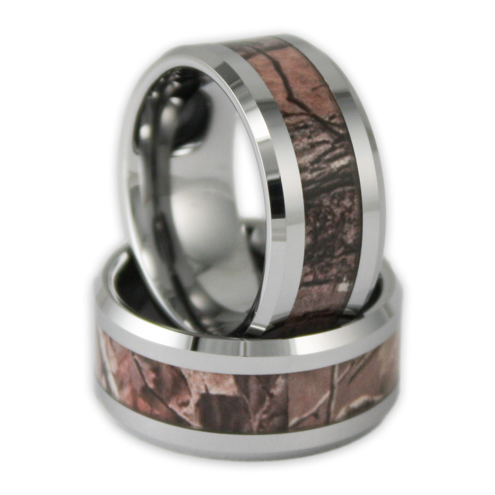 10mm wide mens tree camo tungsten ring camouflage wedding band - Camo Wedding Rings For Him